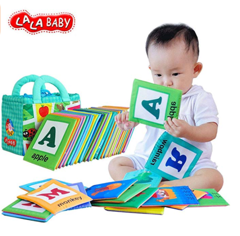 LALABABY 26 Letters Cloth Card with Cloth Bag Early Education Toy